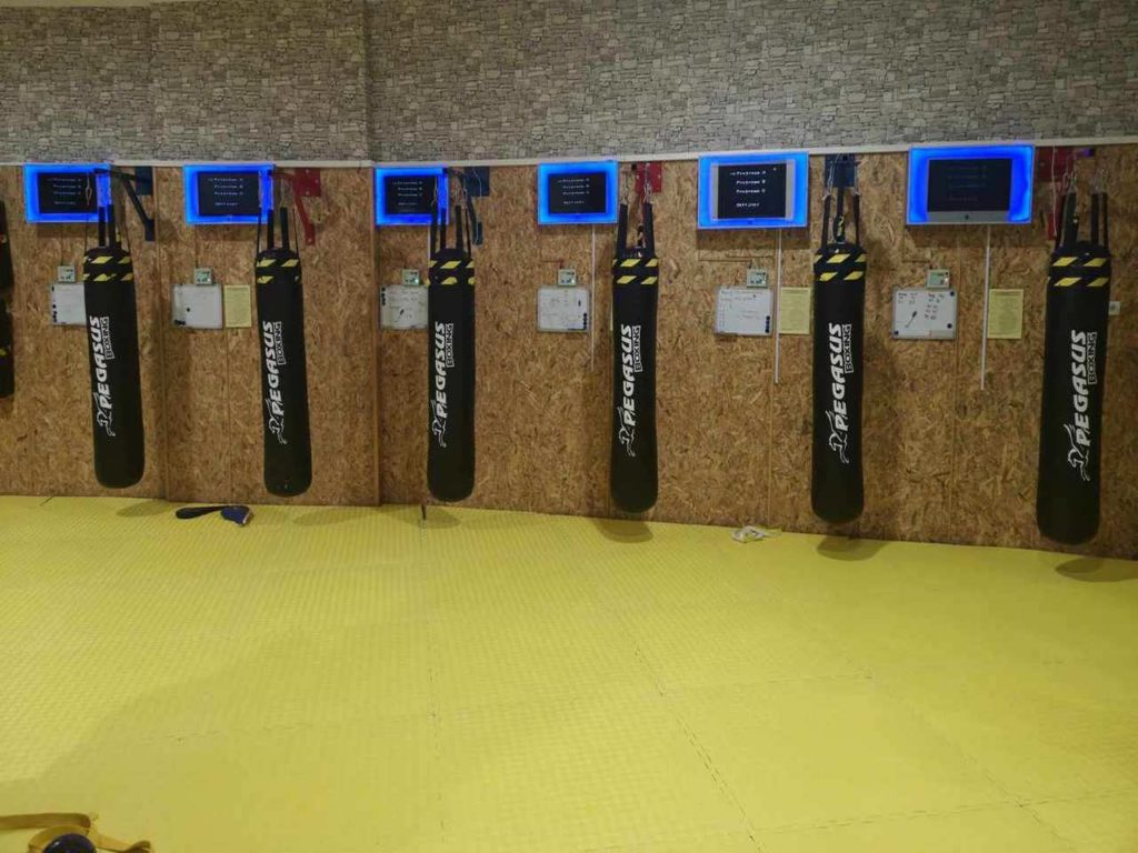Taekwondo Sport Club training in taekwondo using digital bags